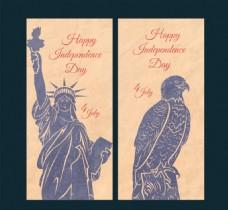 手绘美国元素背景复古卡片