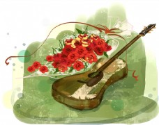 花朵尤克里里梦幻海报背景