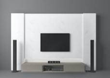 白色背景墙3d模型