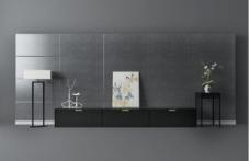 黑色现代中式电视背景墙3d模型