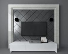 欧式简约电视墙3d模型