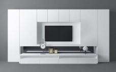 白色现代客厅电视墙3d模型
