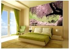 浪漫清新背景墙效果图