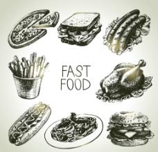 手绘 美式快餐图片