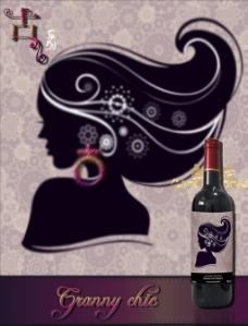 创意复古风手绘人像红酒酒标海报艺术素材