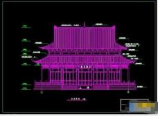 少林寺大雄宝殿正立面cad建筑图纸