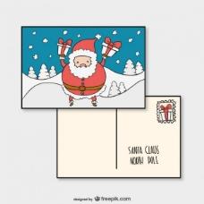 圣诞明信片模板与圣克劳斯