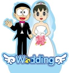 大雄静香婚礼人形展架图片