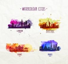 水彩城市设计矢量图