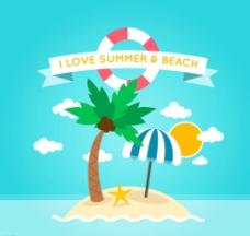 夏季度假小岛矢量素材图片