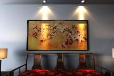 沙发背景墙雀韵图片