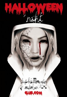 恐怖万圣节主题海报设计psd素材下载