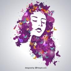 美丽的蝴蝶女人