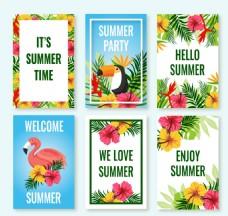 带着花和鸟的热带卡片