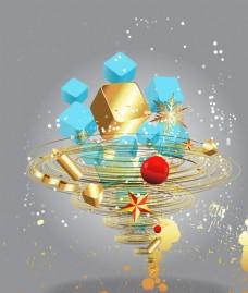 抽象黄金漩涡方块素材