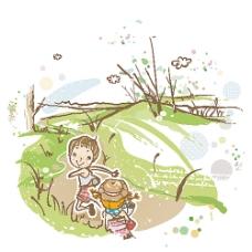追着跑上学的小男孩小女孩