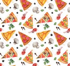 披萨和蘑菇背景矢量素材 A