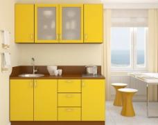 厨房黄色风格装修图片