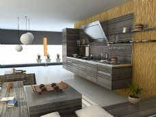 深色木纹厨房设计