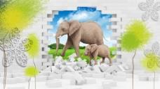 3D大象墙砖背景墙