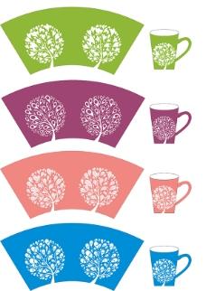 矢量树杯具套装原创设计