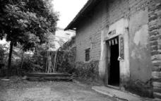 黑白老房子图片
