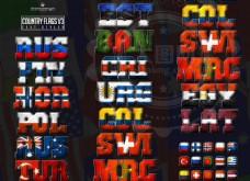 12款创意的国旗组成的图案PS字体样式
