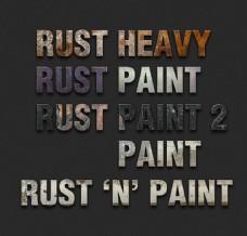 金属锈迹纹理3D立体字样式