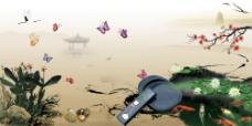 中国风古典水墨凤凰蝴蝶海报