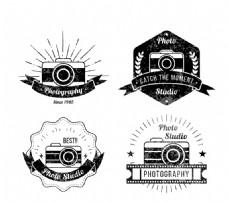 4款复古摄影标签矢量素材