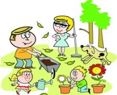儿童植树劳动图片