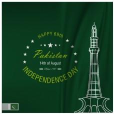 巴基斯坦独立日的绿色背景