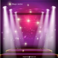 粉红色的聚光灯下舞台