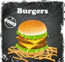 复古 汉堡与薯条 海报图片