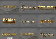 3D立体效果黄金艺术字PS样式