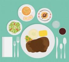 肉盘和餐具食物素材
