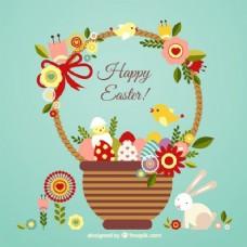 复活节卡片上有一个可爱的篮子