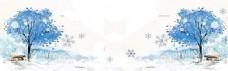 简约冬季素描雪景背景banner