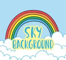 天空背景与彩虹和云