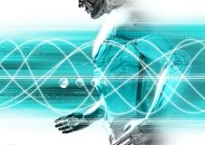 金属机器人梦幻科技空间抽象背景图片
