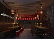中国风餐厅室内效果图
