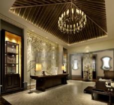 酒店会所3D模型素材max