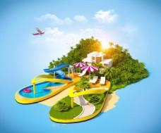夏季海报背景素材图片 岛屿和托鞋旅游海报
