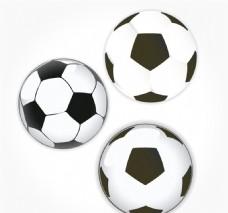 3款黑白足球设计矢量素材