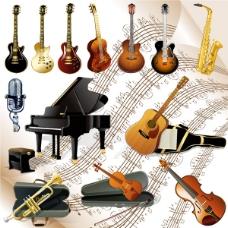 西洋乐器设计矢量素材