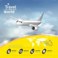 黄色大气天空中的大型客机矢量图