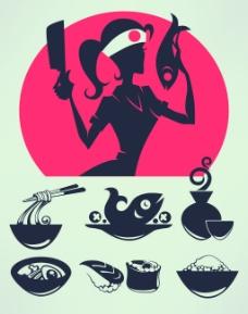 美女厨师和美食