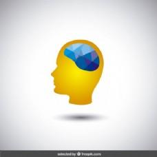多边形脑的头部轮廓