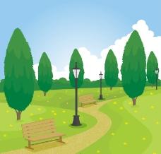 郊外公园风景矢量素材
