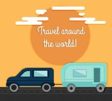 私家拖车旅行插画